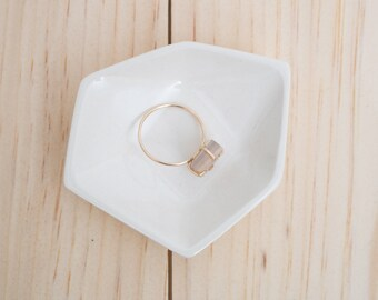 Small Geometric Ceramic Ring Dish - Individual - White