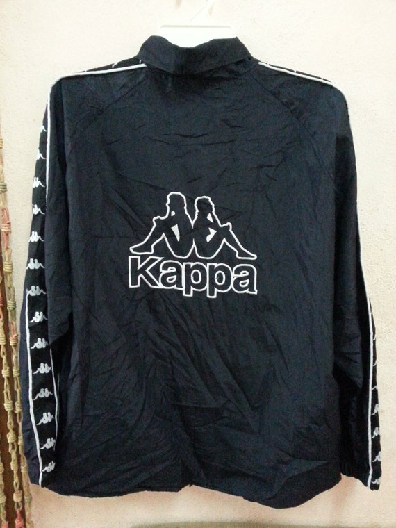 kappa vintage logo brod longue veste coupe vent manches. Black Bedroom Furniture Sets. Home Design Ideas