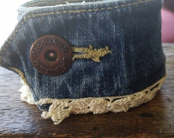 Bracelet.  Cuff. Jewlery.  Denim upcycle cuff.  Steam punk.   Crosses.  Jean button.  Vintage lace