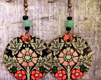 Floral Print Up-cycled Cardboard Box Earrings
