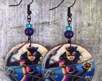 Cat Woman Comic Earrings, Up-cycled Cardboard Decoupage