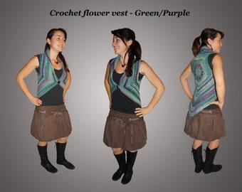 Crochet vest - Green/Purple Flower