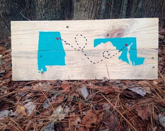Personalized Rustic Two State Sign /State Pallet/Wooden State Sign