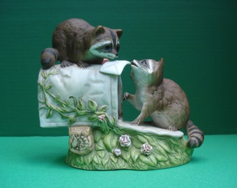 Vintage Masterpiece Porcelain Mailbox and Raccoons Figurine by Homco