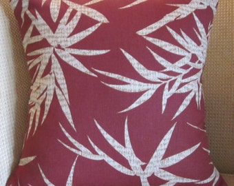 16x16 Tropical Pillow Cover, Rust Pillow Cover, Toss Pillow Cover, Tropical Leaves Pillow Cover