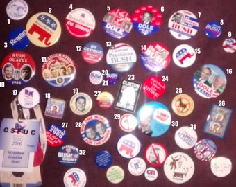 Vintage Presidential and Republican Party Campaign Buttons