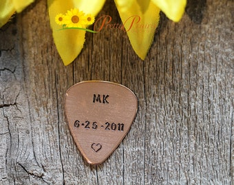Copper Guitar Pick with Initials, Date and Heart - Give the Perfect Gift to your Boyfriend or Husband - Retirement Gift