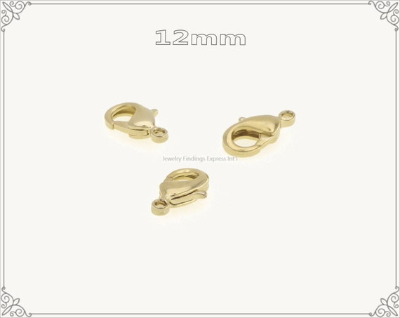 20 pcs.+  12mm Solid Brass Lobster Claw Clasp - Gold Plating