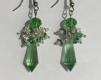 """Earrings """"mint"""" with Swarovski beads, Swarovski"""