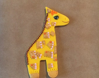"brooch ""Pensive Giraffe"", polymer clay,"