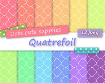 12 Digital COLORFUL QUATREFOIL assorted digital papers,12 jpeg files,digital scrapbooking,white quatrefoil,colorful paper,happy colours