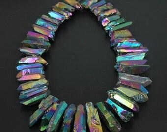 Mystic Titanium Rainbow Color Quartz Crystal Points Pendants Beads,Top Drilled,Dagger pendants Craft Supplies