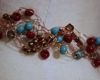 Rust & Turquoise Crocheted Wire Necklace