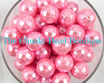 20mm light pink disco faceted pearl, 10 pieces