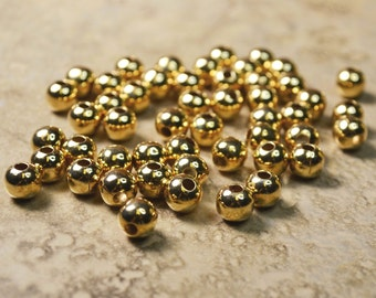 50 Gold Plated Large Hole Beads Lot 207