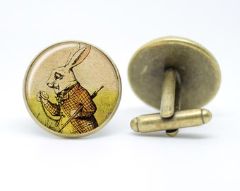 "White Rabbit ""Nivens McTwisp"" Alice in Wonderland Vintage inspired men's bronze or silver plated cufflinks"