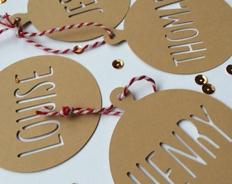 4 x Chistmas Tags Papercut | Personalised gift tags | Christmas Tree Bauble