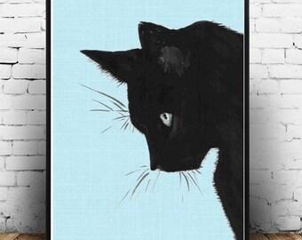 Cat Art Print, Black Cat, Printable Art, Cat Print, Home Decor, Wall Decor, Wall Art, digital Download