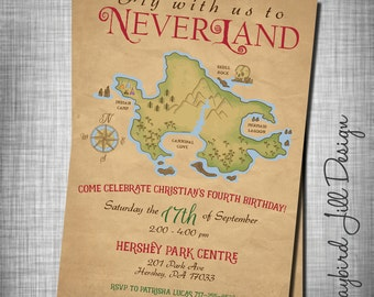 Neverland Birthday Invitation, Peter Pan Party, Treasure Map, Second Star to the Right