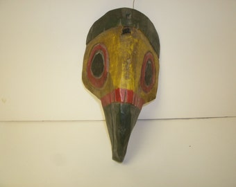 Carved Wooden Painted Bird Mask
