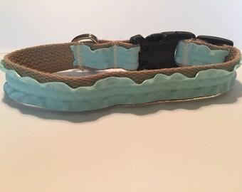 Blue Ruffle Dog Collar
