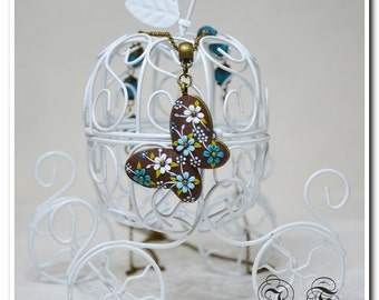 Butterfly pendant floral jewelry floral necklace applique butterfly embroidery jewelry filigree necklace for girl gift for her sister gift