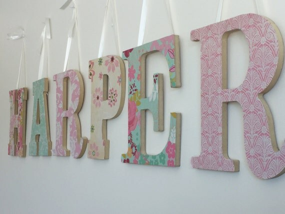 Baby girl letters nursery wall letters baby by lakewoodsmarket for Baby nursery letters