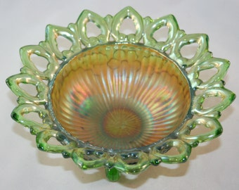 Antique Northwood Wild Rose Smooth Rays Green Bowl Flared Reticulated Edges