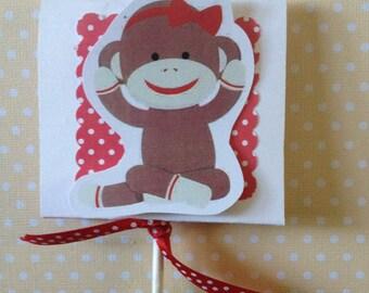 Red Sock Monkey Party  or Babu Shower Lollipop Favors - Set of 10