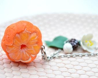 Mandarin tangerine jewelry necklace. Christmas jewelry necklace. Winter jewelry pendant. New Year gift necklace