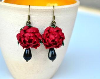 Marsala evening earrings Christmas gift marsala red flower earrings Crimson Red marsala long earrings Polymer clay flower earrings