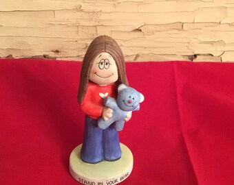 Vintage Cathy Cartoon Figurine Stand by Your Bear 1982