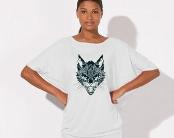 TEE-SHIRT Organic Cotton and Tencel (Eucalyptus) fluid T-shirt bat sleeve - WHITE