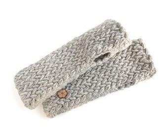 Gray mittens, big mesh 100% natural color alpaca, hand-made