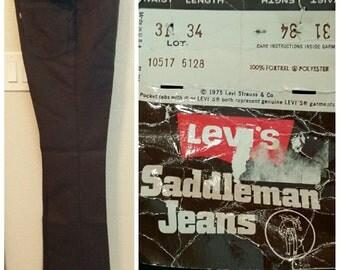 Vintage 1975 New Tags Levi Mens Sta-Prest Saddleman Jeans Fortrel Polyester Pants Slacks 28 29 30 31 X 34 Chocolate Brown 517 Bootcut Retro