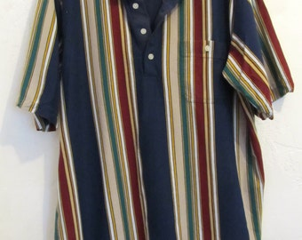 A Men's Vintage 90',Short Sleeve STRIPED POLO By David Taylor.XLT(44L)