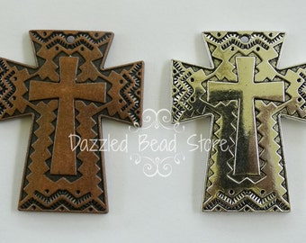 50x41mm AZTEC  Chevron CROSS pendant ~ silver alloy copper