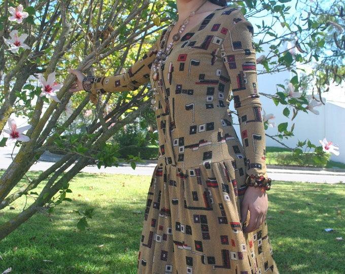 Dress, mosaic dress, Women's clothing, Night dress, party dress, golden dress, Vintage