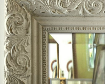 Bella Ornate Embossed Antique White Framed Wall Mirror