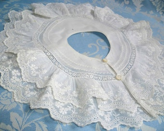 Exquisite Antique French Hand Sewn Collar. Childs, Baby. Hand Embroidered Lace .  Napoleon III.   dolls, teddy