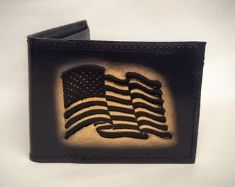 American Flag Bifold Leather Wallet