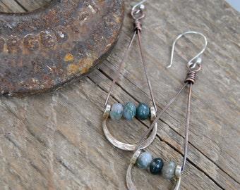 Silver Dangle Earrings, Artisan Earrings, Moss Agate Earrings, Hand Forged Jewelry, Bohemian Jewelry