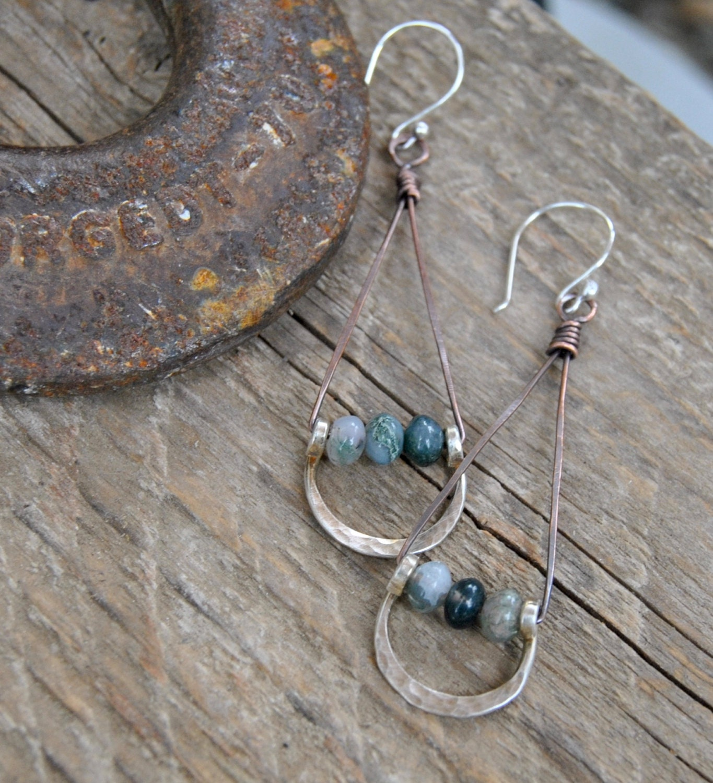Artisan Earrings : Silver dangle earrings artisan moss agate