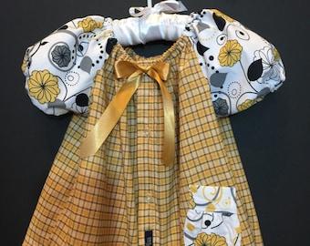 12-18 mos., yellow plaid/ floral dress