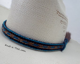 5 strand horsehair Elegant beauty Cowboy hat horse hair hat band: Side tassels Sorrel brown n teal horsehair Cowboy hatband Western hat band