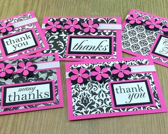 Thank You Notecards, Blank Thank You Cards, Handmade Thank You Notecard, Box Set Thank You Cards, Pink Thank You Cards, Greeting Card