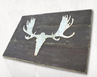Natural Birch Moose Silhouette Wall Hanging, Baby Boy Nursery, Decor Moose Antler, Rustic Nursery, Country Nursery