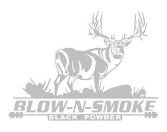 Blow-N-Smoke Hunting Automotive Window Decal Mule Deer HI-53