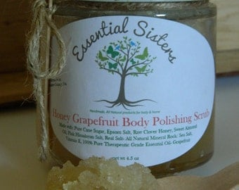 Honey Grapefruit Body Scrub - Salt Scrub - Sugar Scrub - Natural Body Scrub - Foot Scrub- 4.5 oz Body Polishing Scrub