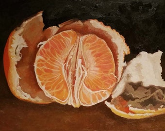 Oil painting still life of an orange
